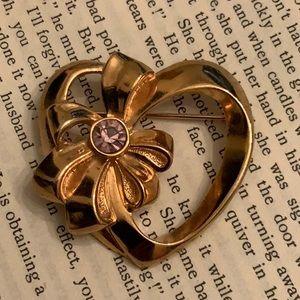 Vintage AVON Purple Rhinestone Heart Gold Brooch